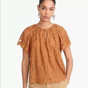 NWT J Crew Short Sleeve Keyhole Delicate Lace Top